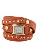 Times Square Wraparound Orange Leather Watch