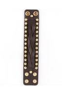 Fight for It Dark Brown Studded Leather Cuff
