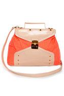 Ne-Ongoing News Blush and Neon Coral Handbag
