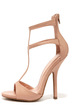 Wild Diva Lounge Cecily 08A Nude T-Strap High Heel Sandals at Lulus.com!
