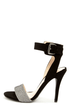 Anne Michelle Enzo 64 Black and Silver Ankle Strap Heels