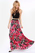 BB Dakota Lithia Pink Floral Print Maxi Skirt