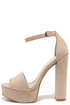Chinese Laundry Avenue Beige Suede Platform Heels at Lulus.com!
