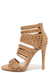 Lacy-like Behavior Natural Perforated Caged Heels at Lulus.com!