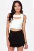 Crop on a Dime Cutout Ivory Crop Top