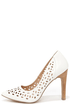 Restricted Long Island White Cutout Pumps at Lulus.com!