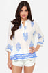 Boho Bouquet Blue and Ivory Floral Print Top