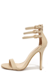 Triple Thrill Natural Ankle Strap Heels at Lulus.com!