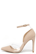 Clearly Chic Nude Lucite Heels at Lulus.com!