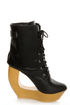 Fahrenheit Lolita 03 Black Lace-Up Cutout Wedge Booties
