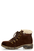 Rocket Dog Timber Chocolate Brown Faux Fur-Trimmed Hiking Boots