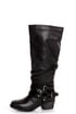 Pink & Pepper Fab Black Belted Motorcycle Boots