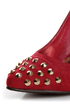 With a single sole, studs, AND a cap-toe, the Holly 31 Red Studded Cap-Toe Pointed Pumps are totally trending! Vegan suede high heels with gold spiked studs.