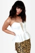 Just a Kiss Ivory Peplum Bustier Top