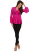 Pleat and Greet Fuchsia Silk Top