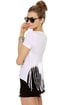 Chaser Ride Or Die White Print Fringe Tee