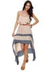 Merrily Rolling Along High Low Beige Dress