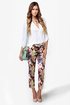 Photo Opulence Floral Print Cropped Pants