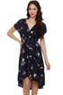 Three Little Birds Navy Blue Print Dress