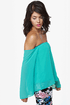 Landslide Off-the-Shoulder Turquoise Top