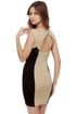 Friday Funday Black and Beige Dress