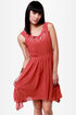 Pleat Smarts Brick Red Dress