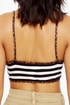 Half Time Navy Blue Striped Bra Top