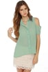Your True Collars Shine Beaded Sage Green Top