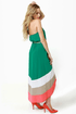 Border Up Green High-Low Halter Dress