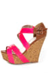 Qupid Finder 48 Neon Pink Patent Platform Wedges