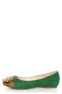 Shoe Republic LA Scion Green Spiked Cap-Toe Flats