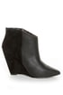 Betsey Johnson Ziah Black Leather & Suede Fringe Ankle Boots