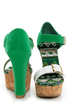 Bamboo Smooch 14 Green Color Block Platform Wedges