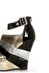Bamboo Smooch 26 Black Multi Metallic Shootie Platform Wedges