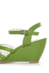 B.A.I.T. Dennise Celery Green Perforated Wedge Sandals