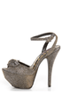 Dollhouse Flaunt Pewter Glitter Peep Toe Platform Pumps