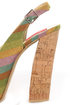 Fahrenheit Anne 22 Green Canvas Striped Platform Sandals