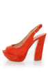 My Delicious Fausta Red Peep Toe Slingback Heels