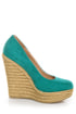 My Delicious Glow Dark Teal Suede Espadrille Wedges