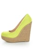 My Delicious Glow Yellow Neon Linen Espadrille Wedges