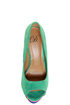 My Delicious Rainer Teal Multi Color Block Platform Heels