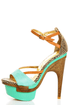Mona Mia Mayo Mint Tribal Patterned Sculpted Platform Heels