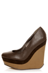 Michael Antonio Agnes Dark Brown Double Platform Wedges