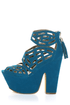 Michael Antonio Studio Gallista Blue Velvet Cutout Platforms