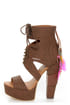Michael Antonio Studio Thayer Cognac Tail Feather Lace-Up Heels