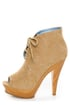 Maker's Flavia 30 Camel Lace-Up Peep Toe Booties