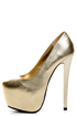 N.Y.L.A Issa Gold Leather Mega Platform Pumps