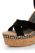 Not Rated Match Maker Black Pattern Play Platform Wedges