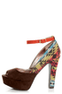 Pink & Pepper Leilla Brown Multi Southwest Print Platform Heels