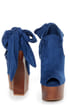 Privileged Ferra Royal Blue Tie-Back Shootie Heelless Platforms